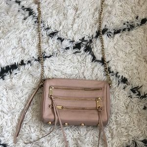 REBECCA MINKOFF MOTO 3-ZIP CROSSBODY BAG - BLUSH